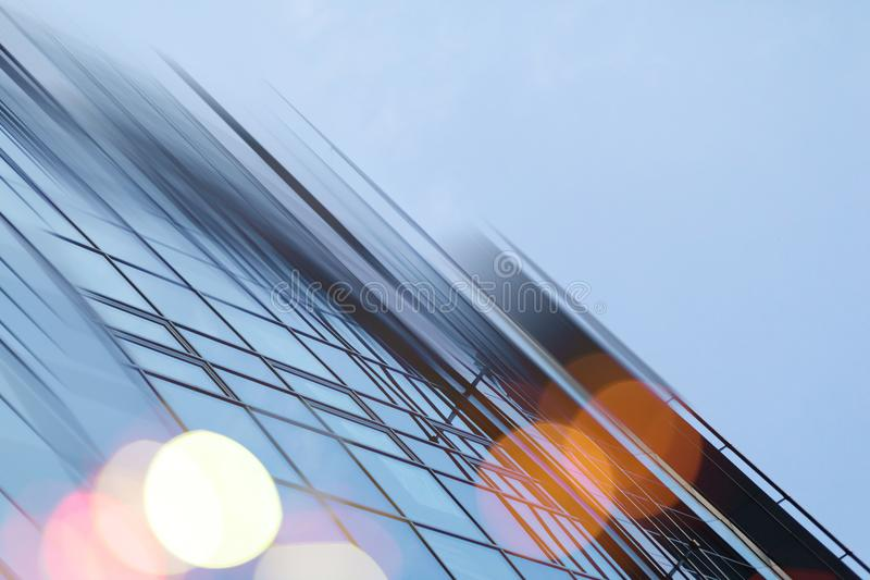 De abstracte van de commerciële moderne achtergrond stads stedelijke futuristische architectuur Onroerende goederenconcept, motie royalty-vrije stock fotografie