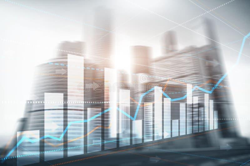 De abstracte van de commerci?le moderne achtergrond stads stedelijke futuristische architectuur Financi?le investering of Economi stock illustratie
