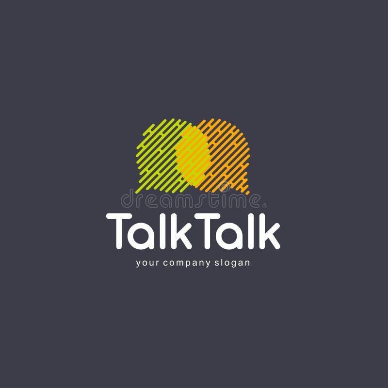 De abstracte van het communicatie elementen embleemontwerp Praatjeembleem, het spreken sms concept stock illustratie