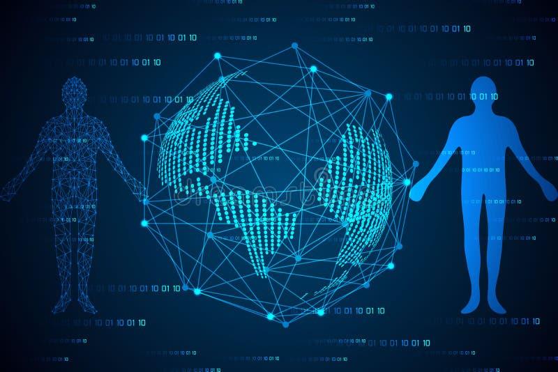 De abstracte van het de mensenlichaam van het technologieconcept digitale verbinding en wereld m royalty-vrije illustratie