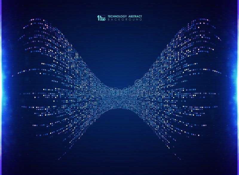 De abstracte van de het ontwerpenergie van het technologie vierkante patroon blauwe achtergrond van de de lijnendecoratie U kunt  stock illustratie