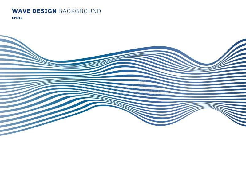 De abstracte van het het ontwerppatroon van de horizontale lijnen blauwe golf horizontale lijnen op witte achtergrond Optische ku stock illustratie