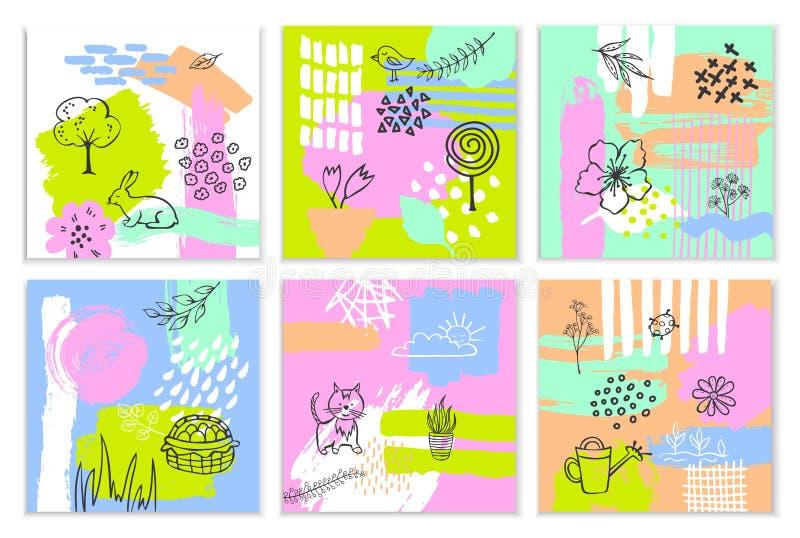 De abstracte van de de verfborstel van de lentepasen van de de slag geweven en geschetste collage originele kaarten vector illustratie