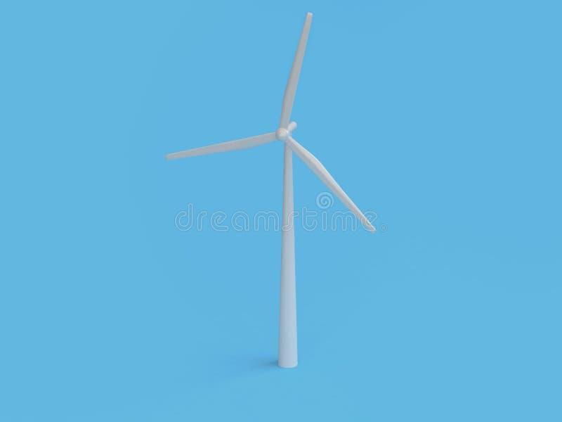 De abstracte van de de windturbine van de beeldverhaalstijl minimale blauwe 3d achtergrond geeft, duurzame energiemilieu sparen a royalty-vrije illustratie