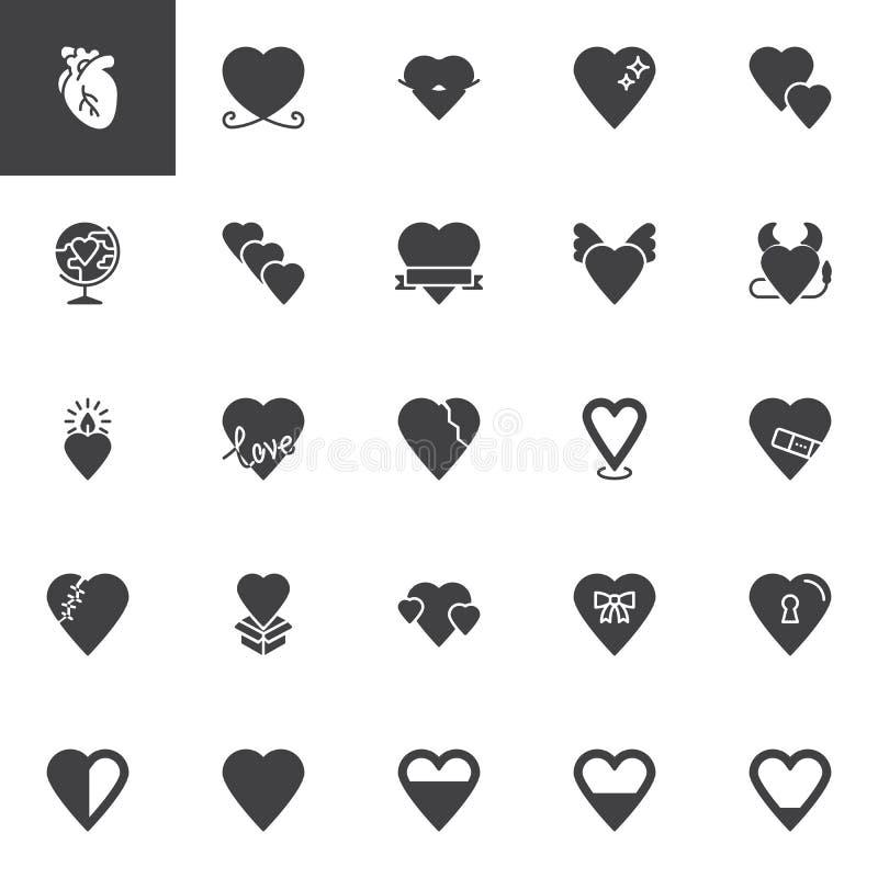 De abstracte vector geplaatste pictogrammen van de hartenliefde royalty-vrije illustratie