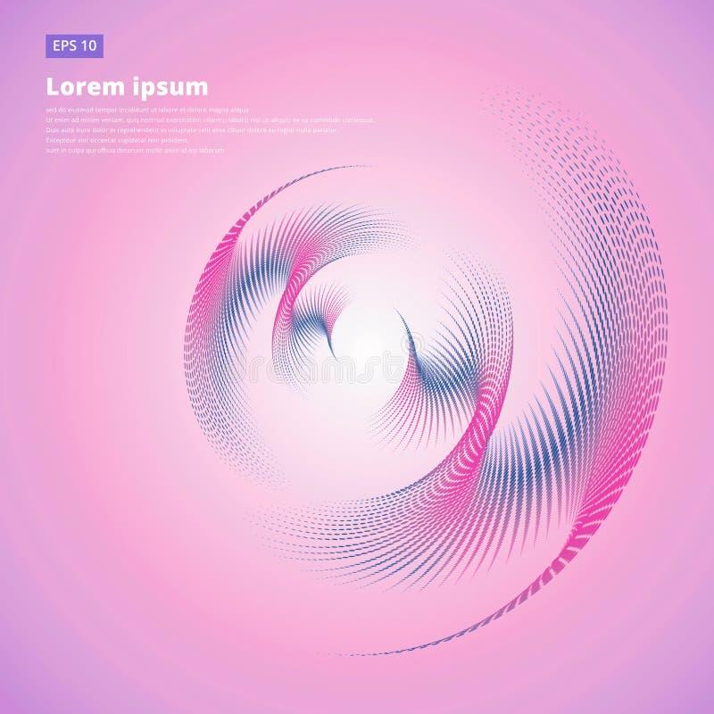 De abstracte vector halftone van de de cirkelkromme van de vectorenwerveling roze kleur F stock illustratie
