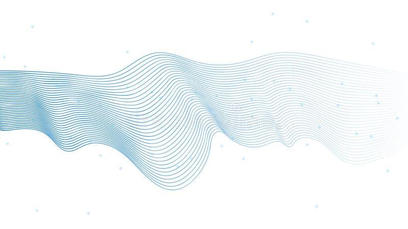 De abstracte vector Lichtblauwe die kleur van golflijnen op witte achtergrond voor het ontwerpen van dekking, presentatie, bedrij royalty-vrije illustratie