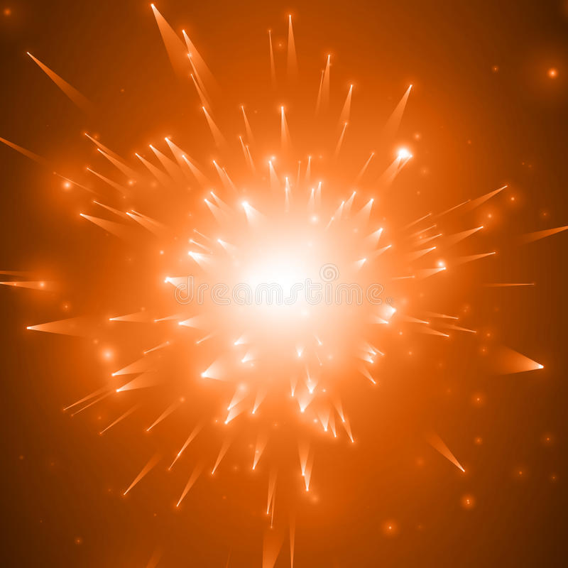 De abstracte vector rode achtergrond van de vuurwerkexplosie met glanzende vonken Het vuurwerk van de nieuwjaarviering Uitbarstin royalty-vrije illustratie
