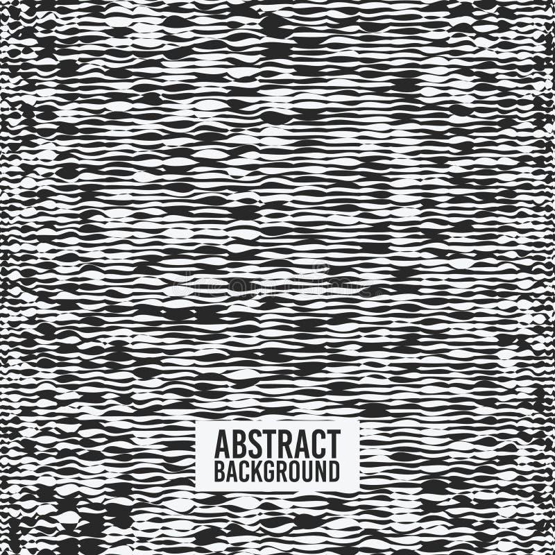 De abstracte vectorachtergrond is grafiek, de simulatie van het lijnlawaai, zwart-wit, voor kaarten, affiches, stoffentextuur stock illustratie