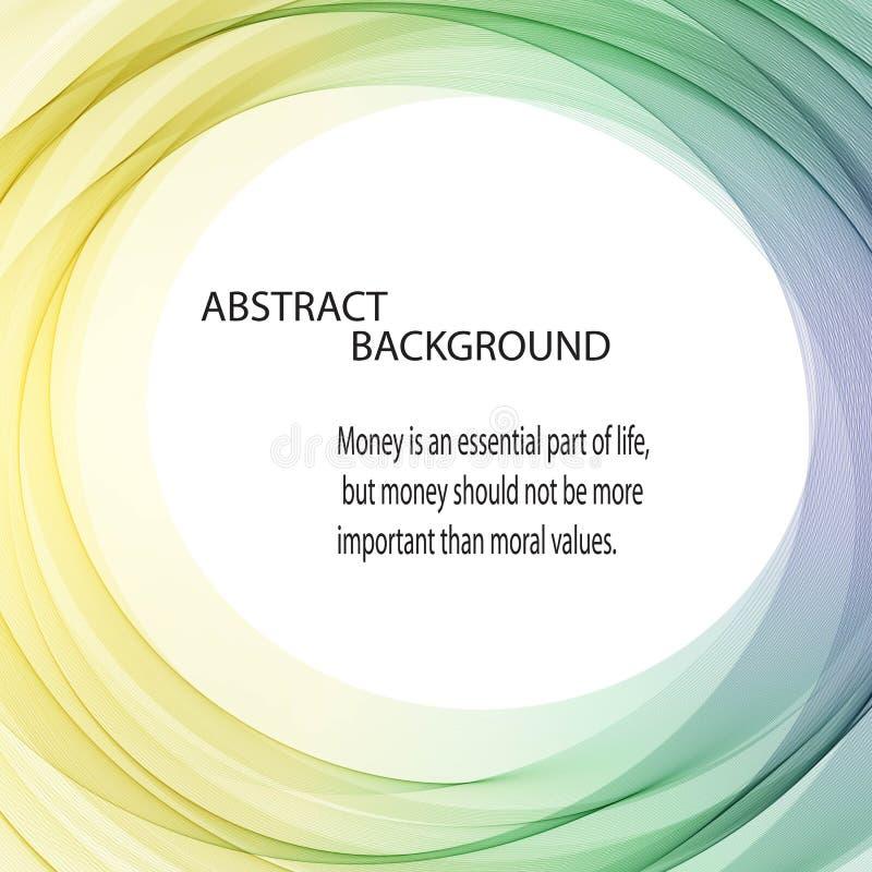 De abstracte vectorachtergrond om de groenachtig blauwe gele golvende lijnen van de cirkelvorm omcirkelt transparant golfkader royalty-vrije illustratie