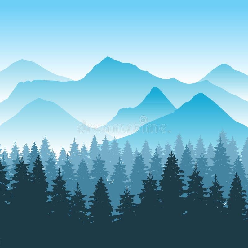 De abstracte vectorachtergrond van het wandelingsavontuur met berg en bos vector illustratie