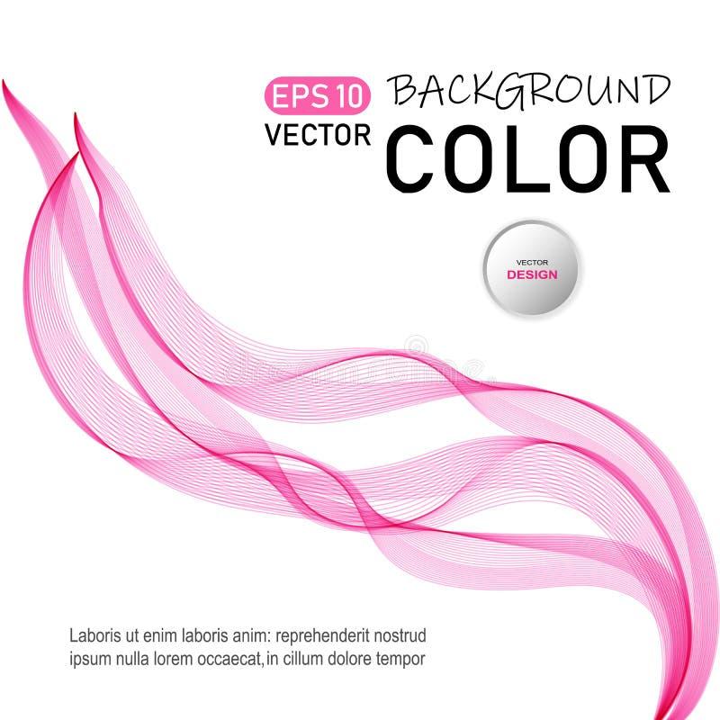 De abstracte vectorachtergrond van de kleurengolf Transparante vliegende lichtrose golven stock illustratie