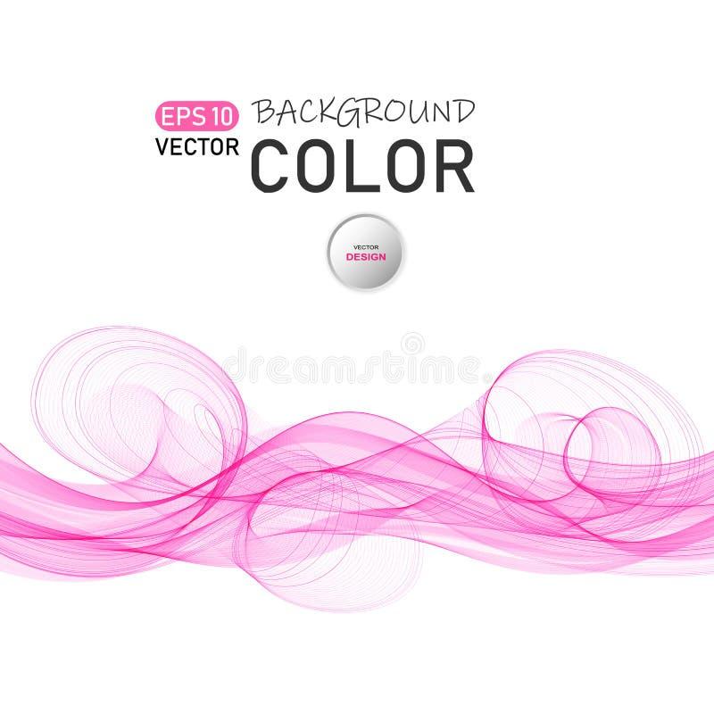 De abstracte vectorachtergrond van de kleurengolf Transparante vliegende lichtrose golven royalty-vrije illustratie