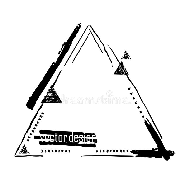 De abstracte vectorbanner van de grungestijl Zwarte verf, inktkwaststreken, borstels, lijnen, punten Vuil artistiek ontwerpelemen royalty-vrije illustratie