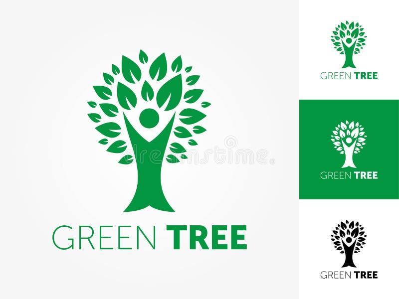 De abstracte vectorillustratie van het boomembleem royalty-vrije illustratie