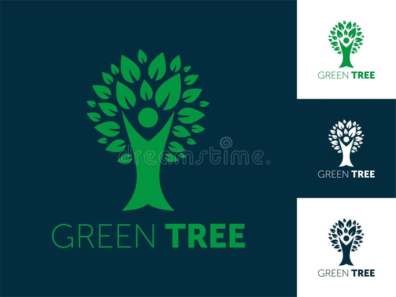 De abstracte vectorillustratie van het boomembleem vector illustratie