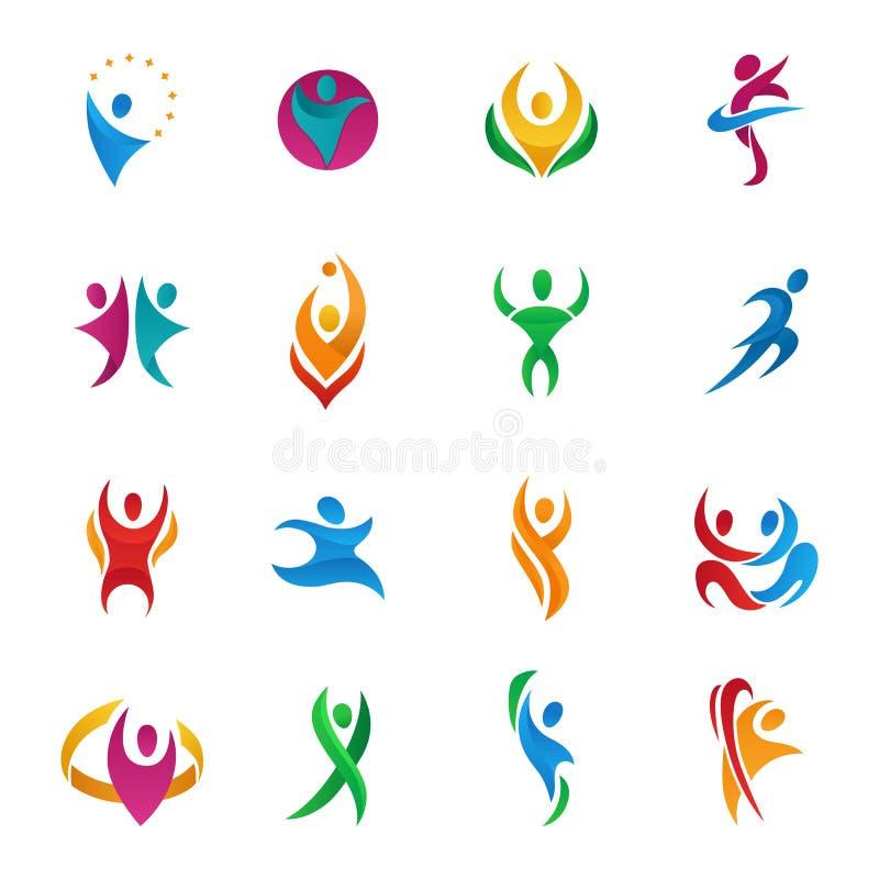 De abstracte vectormensen silhouetteren teams en groepen menselijke van het embleempictogrammen van cijfervormen het conceptontwe stock illustratie
