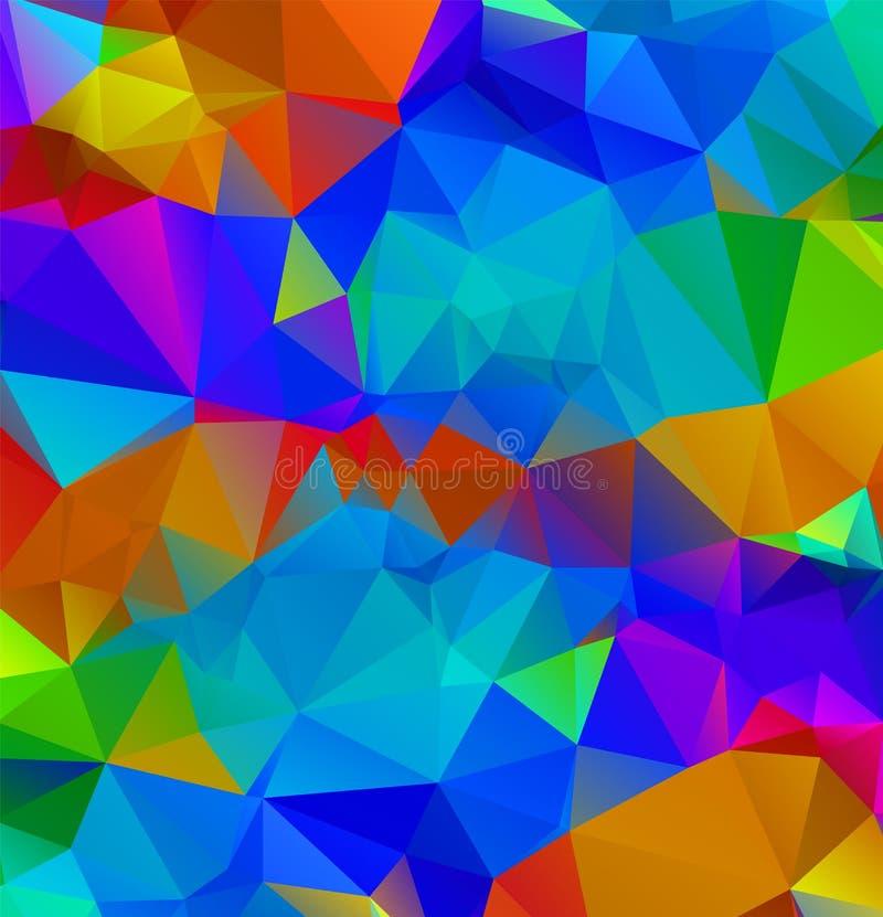 De abstracte veelkleurige volledige achtergrond van de Kleurenregenboog Vector veelhoekige ontwerpillustrator stock illustratie