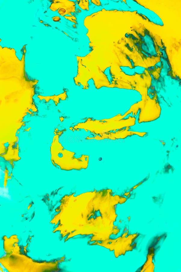 De abstracte Verf bespat Achtergrond Turkooise en oranje vloeistof die psychedelische achtergrond mengen royalty-vrije stock afbeeldingen
