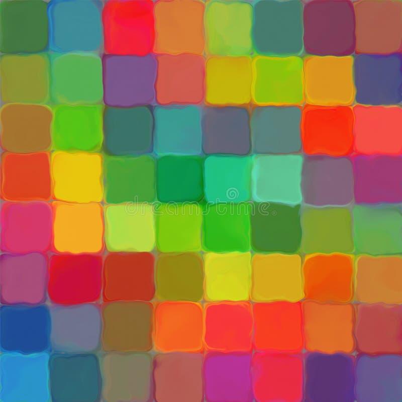 De abstracte verf van de regenboogkleur betegelt de achtergrond van de patroonkunst stock afbeelding