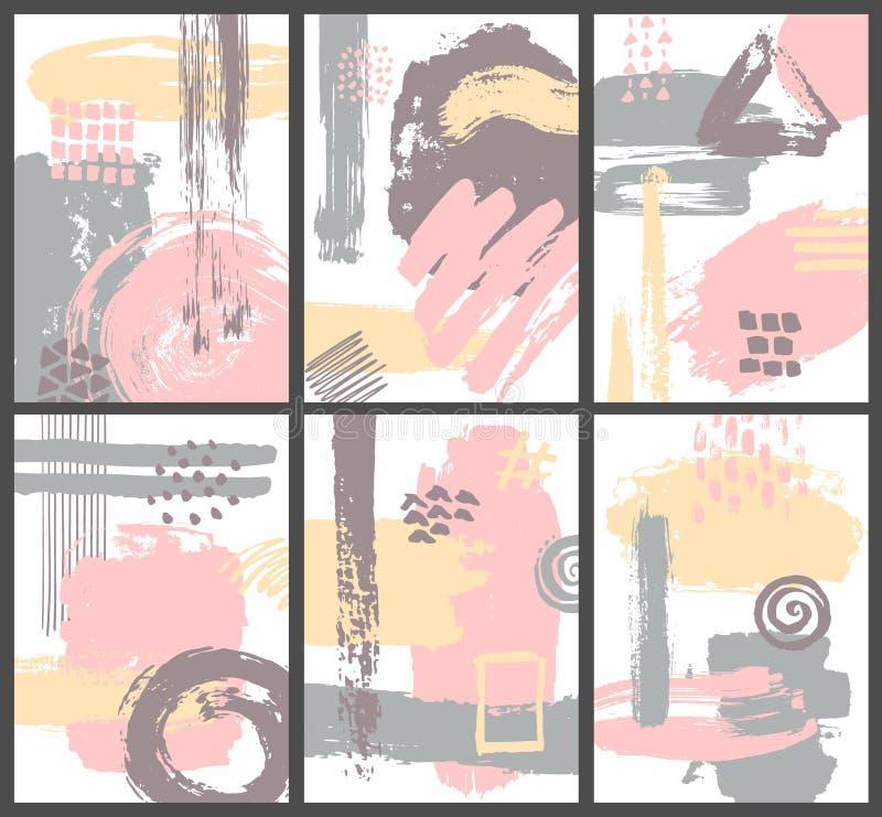 De abstracte verfborstel strijkt zachte gekleurde affiches royalty-vrije illustratie
