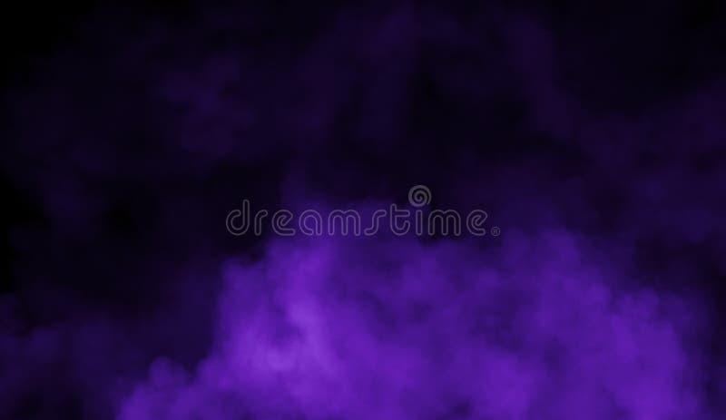De abstracte violette mist van de rookmist op een zwarte achtergrond Textuur Het element van het ontwerp stock fotografie