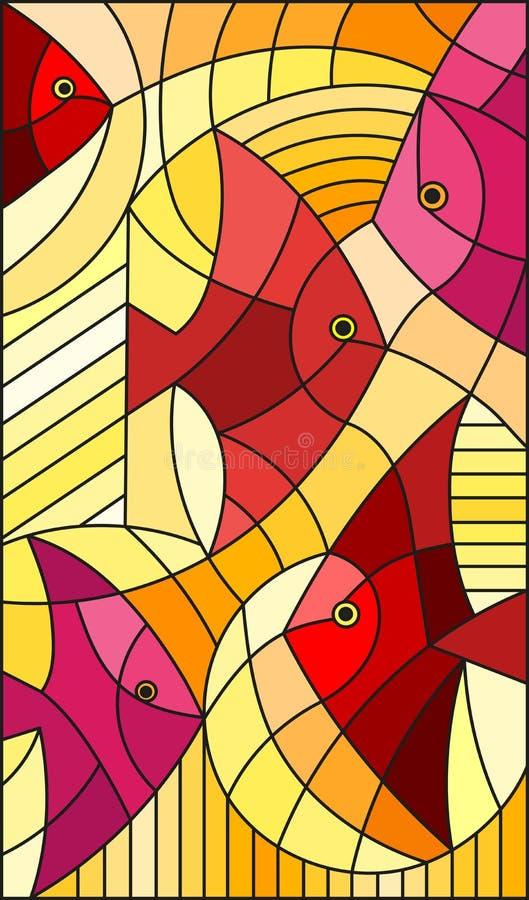 De abstracte vissen van de gebrandschilderd glasillustratie, verticaal beeld, warme rode en gele tinten vector illustratie