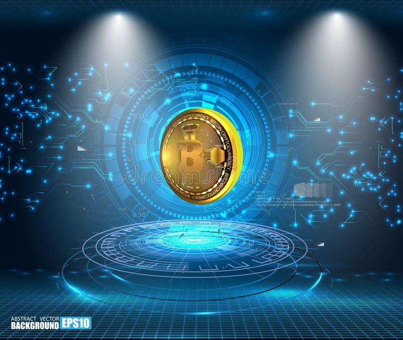 De abstracte visualisatie van de Bitcointechnologie stock illustratie