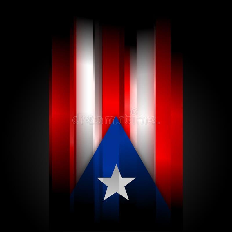 De abstracte vlag van Puerto Rico op zwarte achtergrond stock illustratie