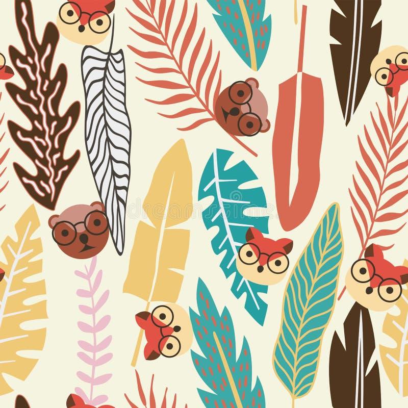 De abstracte vlakke dierlijke naadloze achtergrond van kleuren tropische bladeren stock illustratie