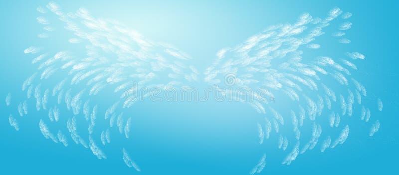 De abstracte Vleugels van de Engel in Blauwe Hemel stock illustratie