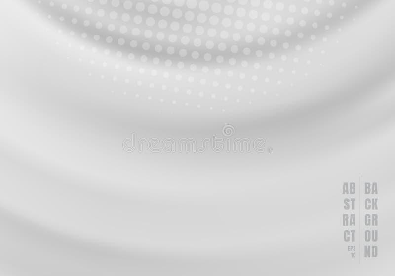 De abstracte vloeistof roteert wervelende gegolfte grijze achtergrond met radiale halftone stock illustratie