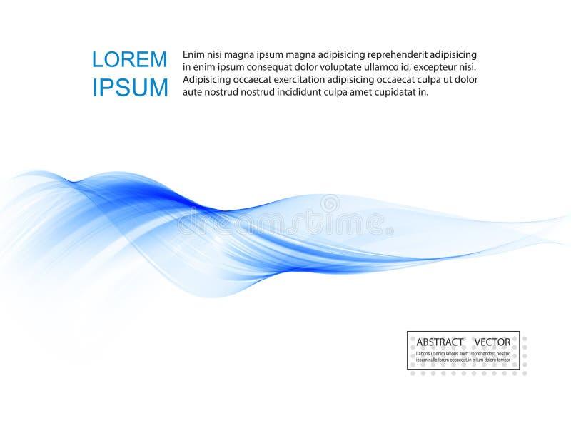 De abstracte vlotte vector van de kleurengolf Blauwe de motieillustratie van de krommestroom Rookontwerp royalty-vrije illustratie