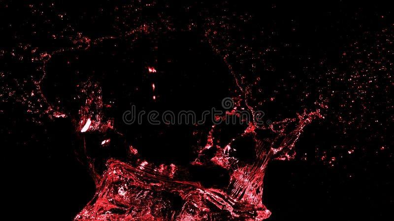 De abstracte vorm van de rode wijnplons op zwarte achtergrond royalty-vrije stock afbeelding