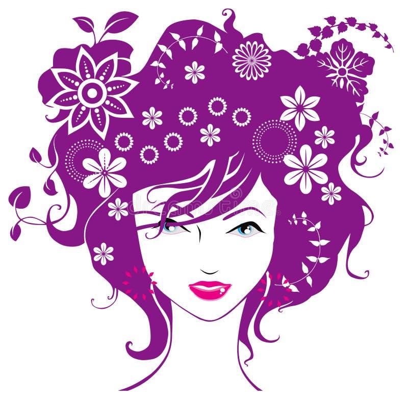 De abstracte vrouwen houden bloemen van illustratie   royalty-vrije illustratie