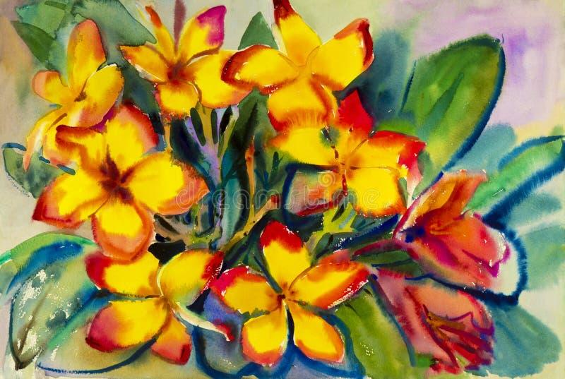 De abstracte waterverf originele het schilderen gele kleur van woestijn nam toe royalty-vrije illustratie