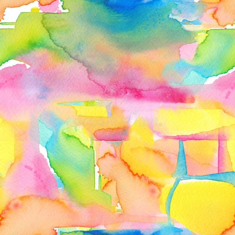 De abstracte waterverfhand schilderde naadloze achtergrond stock illustratie