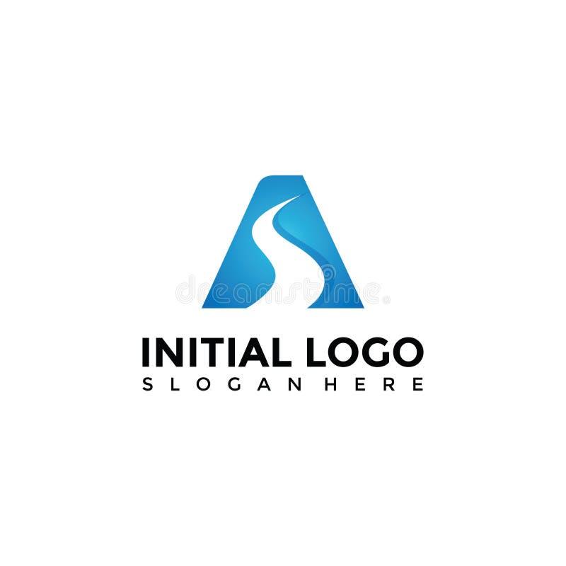 De abstracte Weg en voorziet Logo Template van letters Vectorillustrator EPS stock illustratie