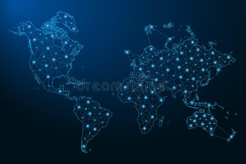 De abstracte Wereldkaart leidde tot van lijnen en heldere punten in de vorm van sterrige hemel, veelhoekig wireframenetwerk en ve royalty-vrije illustratie