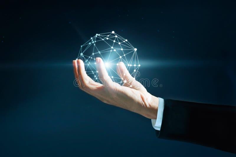 De abstracte wetenschap, omcirkelt de globale van de bedrijfs netwerkverbinding in hand mens stock afbeelding