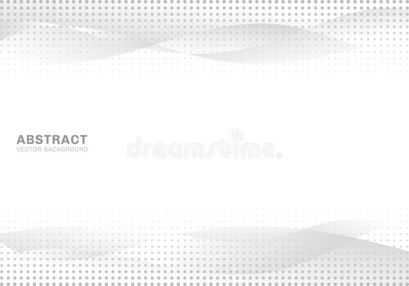 De abstracte witte en grijze van de de puntenkunst van gradiëntgolven moderne heldere halftone achtergrond en de textuur De ruimt royalty-vrije illustratie