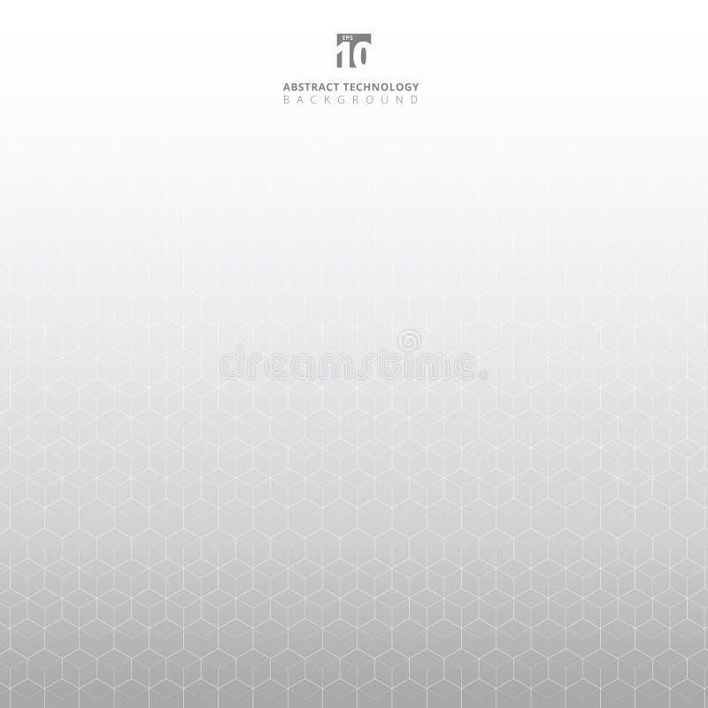 De abstracte witte geometrische molecule van het zeshoekenpatroon op grijze achtergrond met exemplaarruimte Elementen voor ontwer vector illustratie