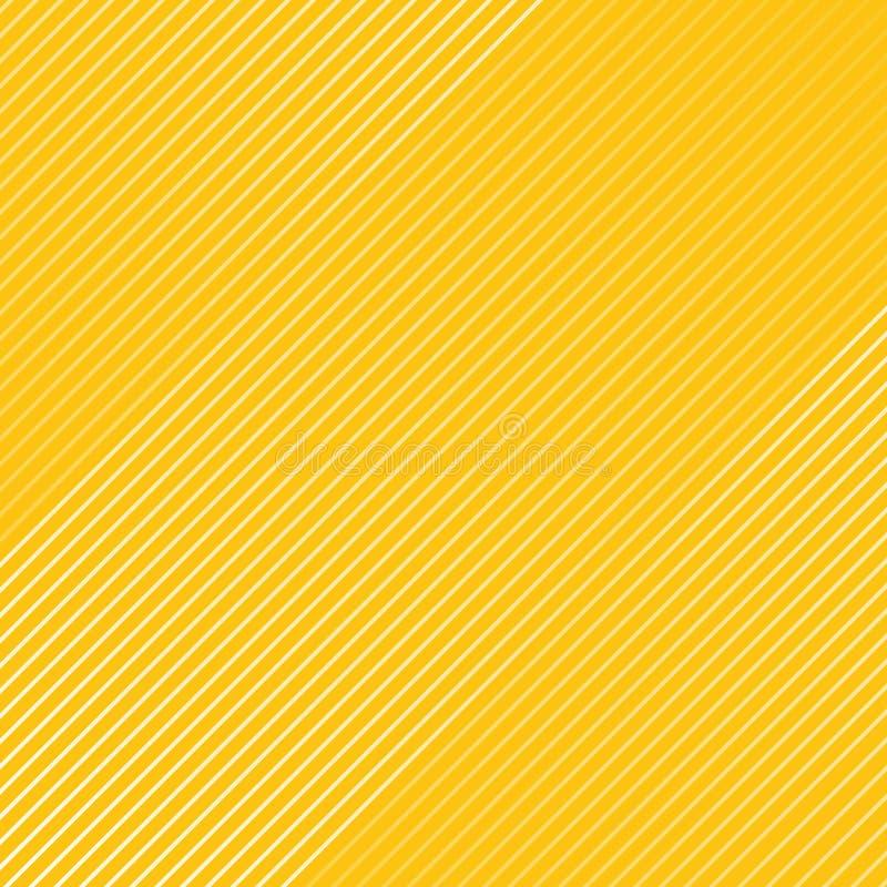 De abstracte witte gestreepte textuur van het lijnenpatroon diagonaal op yello stock illustratie