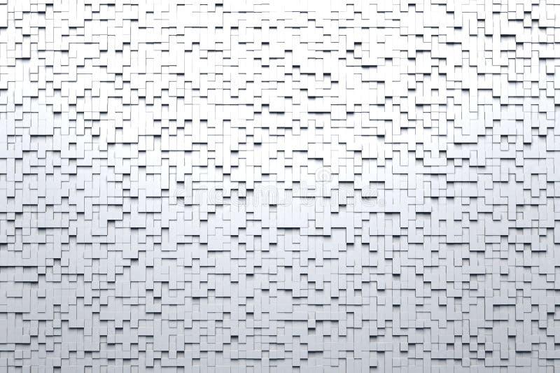 De abstracte Witte of Grijze 3d Geometrische Kleine Kubus betegelt Achtergrondontwerppatroon in Sterk Top down Licht vector illustratie