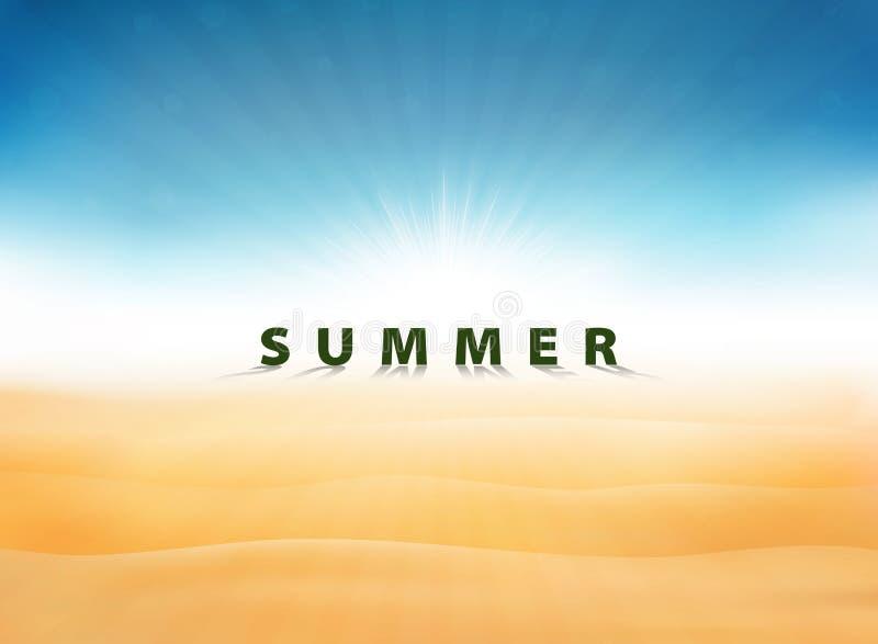 De abstracte de zomerachtergrond met zon barstte blauwe hemel op woestijn U kunt voor vakantiekunstwerk, advertentie, affiche, pr stock illustratie