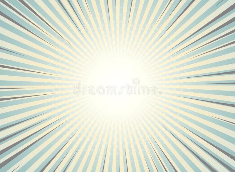 De abstracte zon barstte achtergrondwijnoogst van halftone patroonontwerp Groene en gele kleuren met hoogtepunt van grappige stre royalty-vrije illustratie
