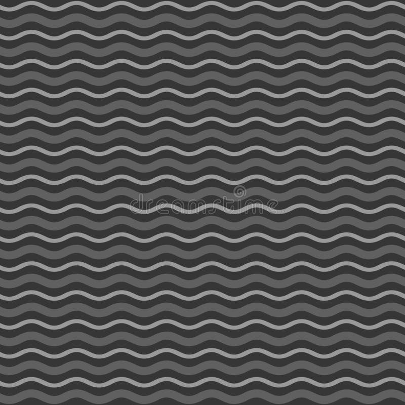 De abstracte Zwart-wit Achtergrond van het Golven Naadloze Patroon Vector vector illustratie