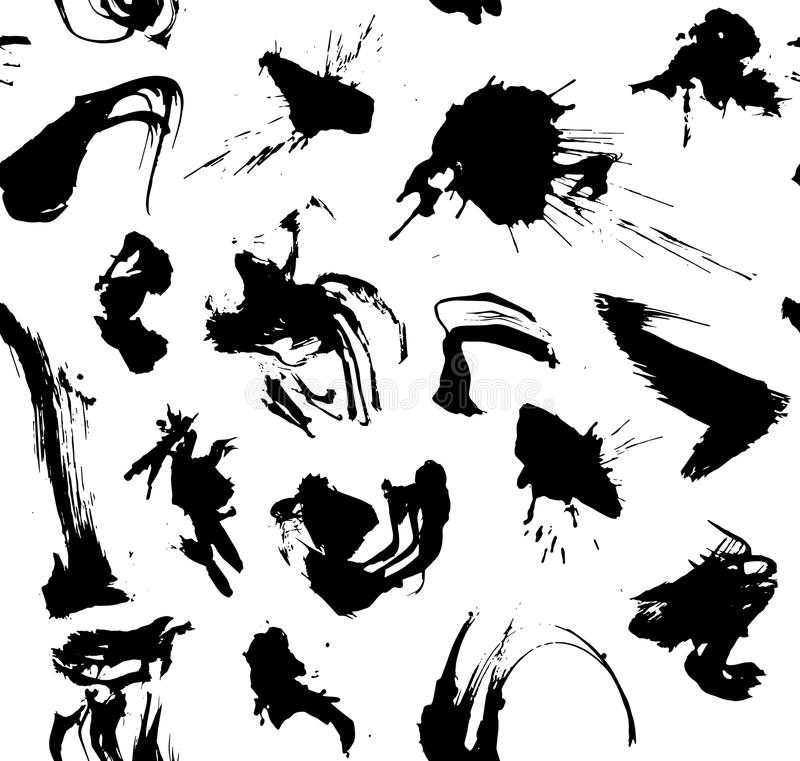 De abstracte zwart-witte vector van het inkt slpashes patroon royalty-vrije illustratie
