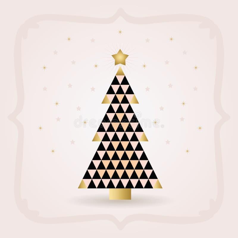 De abstracte zwarte en gouden driehoek betegelt patroonkerstboom met gouden hoogste ster op roze achtergrond royalty-vrije illustratie