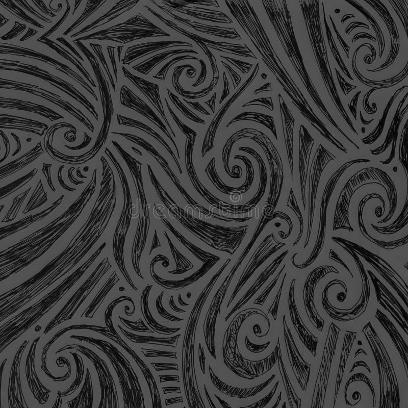 De abstracte zwarte en grijze hand getrokken schets van de krabbelinkt met willekeurige krullen wervelt en het patroon van het li royalty-vrije illustratie